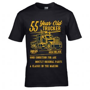 Premium Funny 55 Year Old Trucker Classic Truck Motif For 55th Birthday Anniversary gift t-shirt